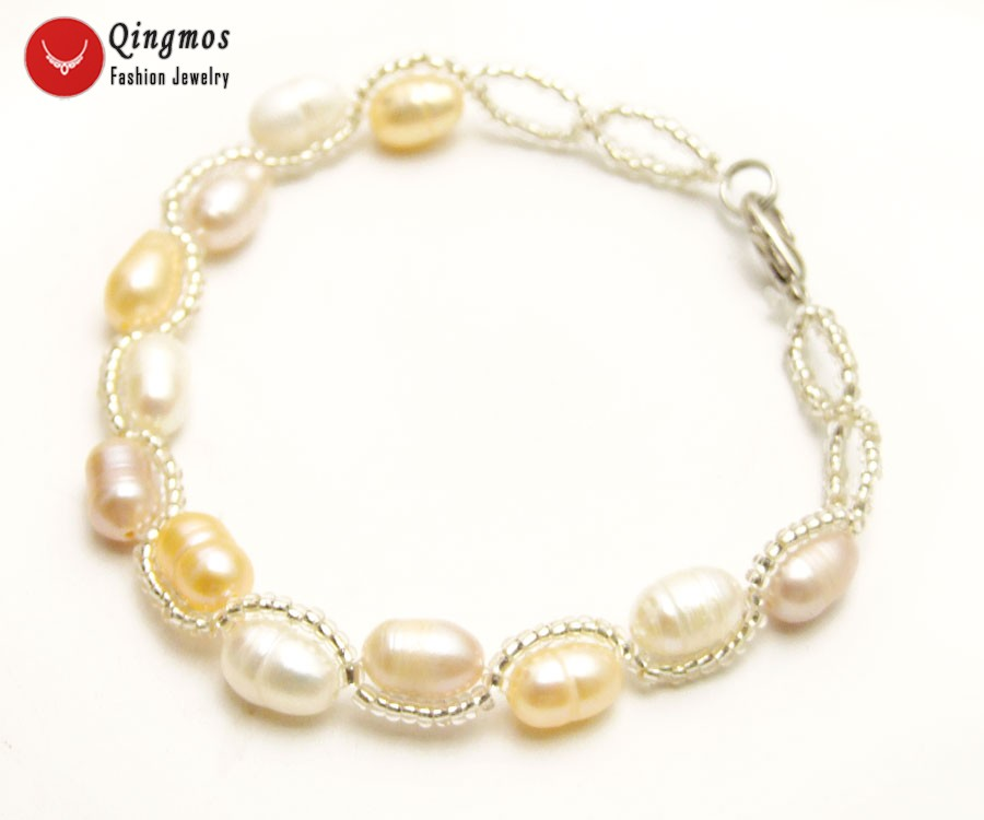 Qingmos Natural Pearl Bracelet for Women with 5-6mm White Pink Purple Rice Pearl & Crystal Handwork Weave Bracelet Fine Jewelry