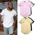 Curved Hem Hip Hop T-shirt Men Urban Kpop Extended T shirt Plain Longline Mens Tee Shirts Male Clothes Justin Bieber Kanye
