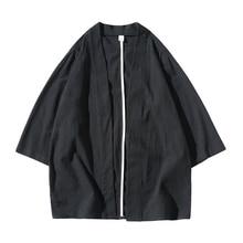 2019 Men Cotton Linen Shirts Kimono Traditional Open Stitch Shirt Male Three Quarter Sleeve Harajuku Mens dropshipping