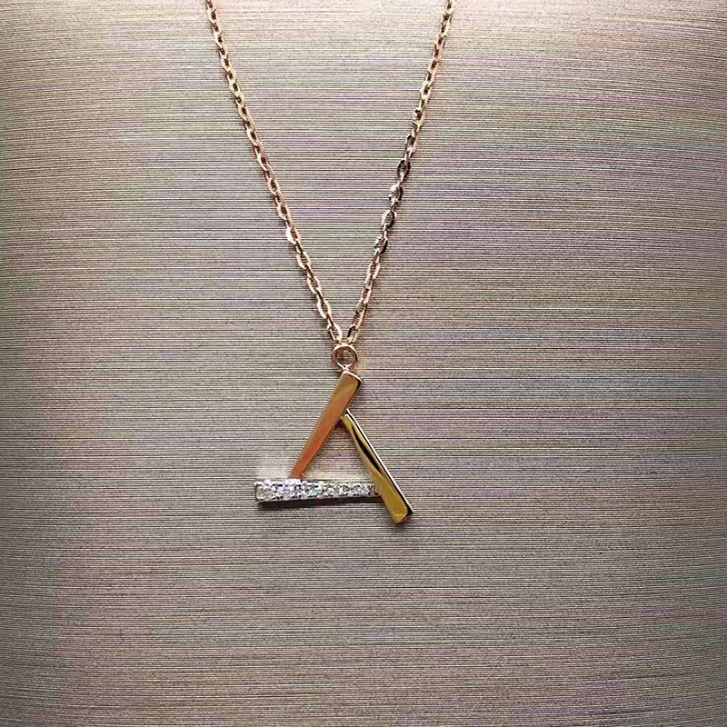 ANI 18K Rose Gold (AU750) Pendant Necklace Real Diamond Jewelry Custom 3 Colors Triangle Pendant Necklace for Women Engagement ani 18k yellow gold pendant necklace malachite color gemstone jewelry real natural diamond fashion women engagement necklace