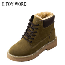 E TOY WORD Women Winter shoes 2019 New Warm Plush Lace up  woman Boots flats Suede leather Ankle Snow Boots Women Booties