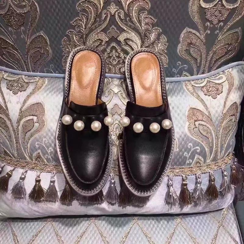 Pelle Feminino Sapato Muller 2018 Donna Nuovo Zapatos In Di Pic De Perle Da As Mocassini Appartamenti Autunno Catena Mujer Scarpe 47FA8qwf