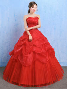 Ball-Gown Dresses Bride-'s Lace-Up Floor-Length New Summer Spring YC73 Red Wholesale