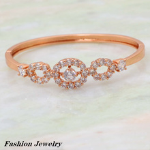 Trendy Brand designer Bracelets & bangles rose gold white Cubic Zirconia fashion jewelry B243