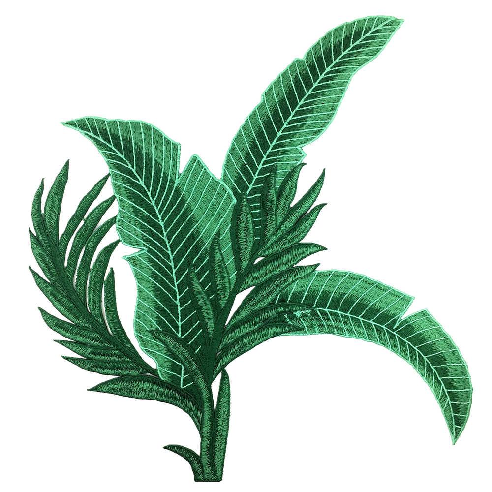 2 шт., нашивка с вышивкой в виде банановых листьев, нашивки в виде листьев подорожника, аппликация с вышивкой, вышивать на пачках для одежды, Parches AC1176