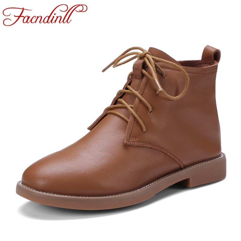 FACNDINLL women ankle boots hand-made genuine leather ladies boots spring autumn round toe lace up casual shoes female footwear brown men ankle boots spring autumn genuine leather cowboy boots pointed toe lace up mens military boots safety shoes footwear
