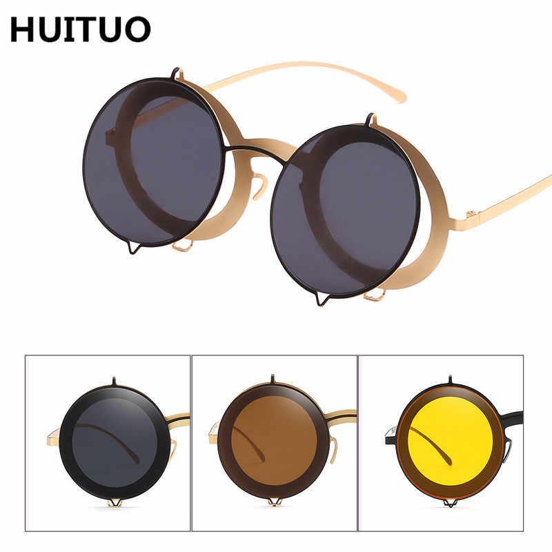HUITUO الأوروبية والأمريكية خمر جولة إطار النظارات الشمسية عالية الجودة UV400 النساء ظلة نظارات شمسية زوجين السفر نظارات