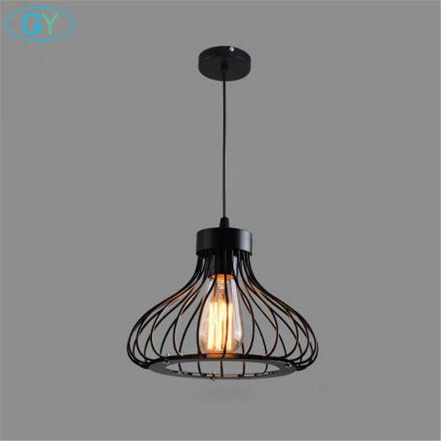 AC110-240V Wrought iron pendant lamp loft Edison bulb hanging lights iron home lighting black Metal nordic pendant lighting