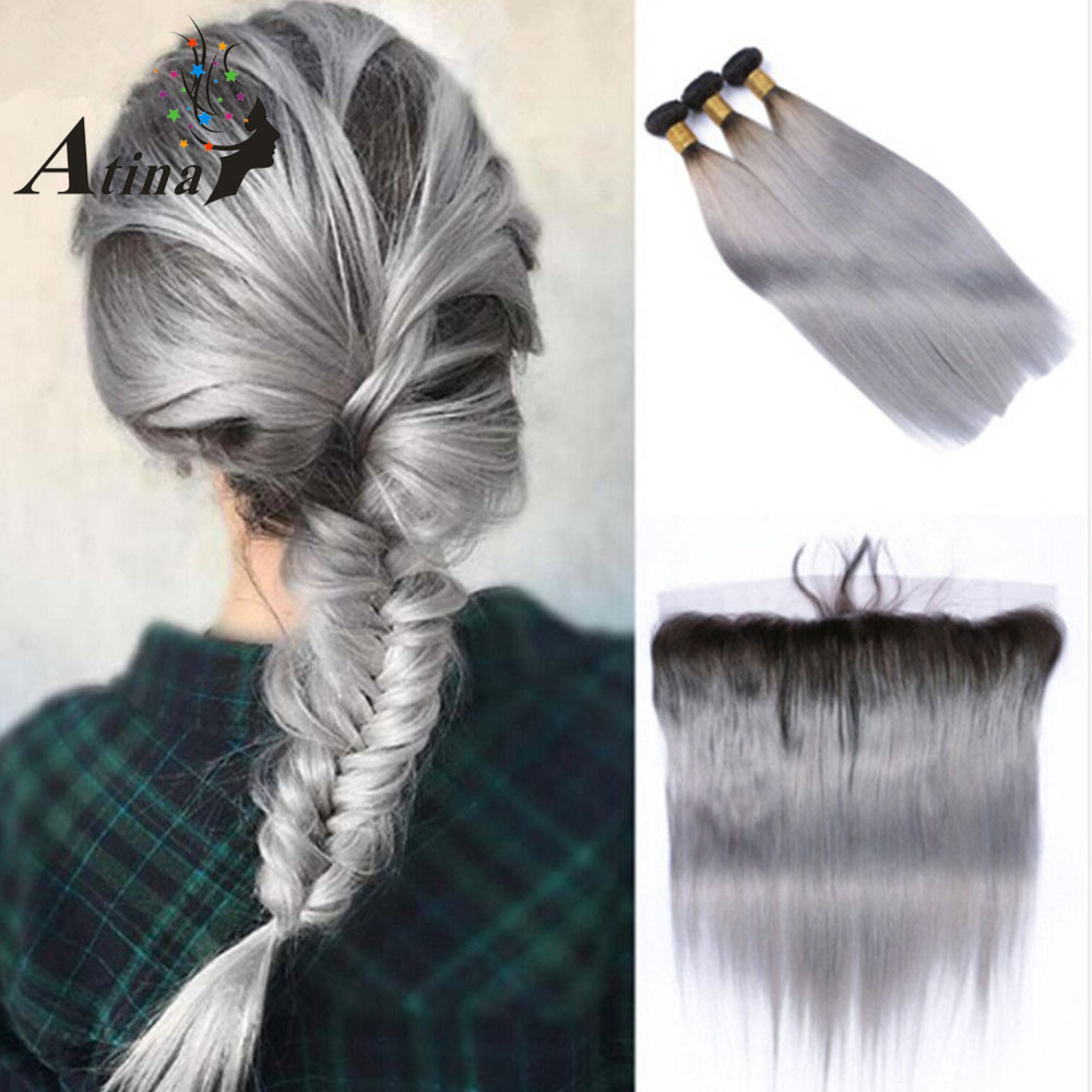 1B/Grey Brazilian Straight 3 Bundle With Closure Silver Ombre Human Hair Lace Frontal Closure With Bundle Remy Virgin Hair Atina