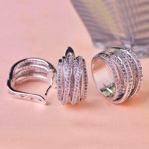 Image 4 - Hoge Kwaliteit Luxe Sieraden Sets Oorbellen Ring Sets Shiny Aaa Zirconia Gouden Kleur Noble Charm Vrouwen Accessoires Bijoux