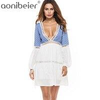 Aonibeier Dệt Rỗng Ra Chèn Đèn Lồng Tay Áo 2018 Summer Mini Dresses Sexy Sâu V Neck Lace Up Lại Cao Eo Váy
