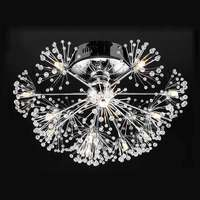 LED Lamp Luxury Modern Led Crystal Ceiling Light Fixtures Living Room Dandelion Flower Design Chrome Iron Ceiling Lamp 110 240V