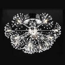 LED Lamp Luxury Modern Led Crystal Ceiling Light Fixtures Living Room Dandelion Flower Design Chrome Iron 110-240V