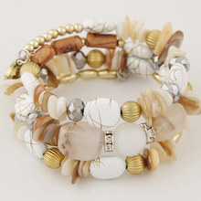Woman Beach Jewelry 2017 Bohemian Shell Natural Stone Bracelet Multilayer Beads Strand bracelets & bangles Pulseras Mujer