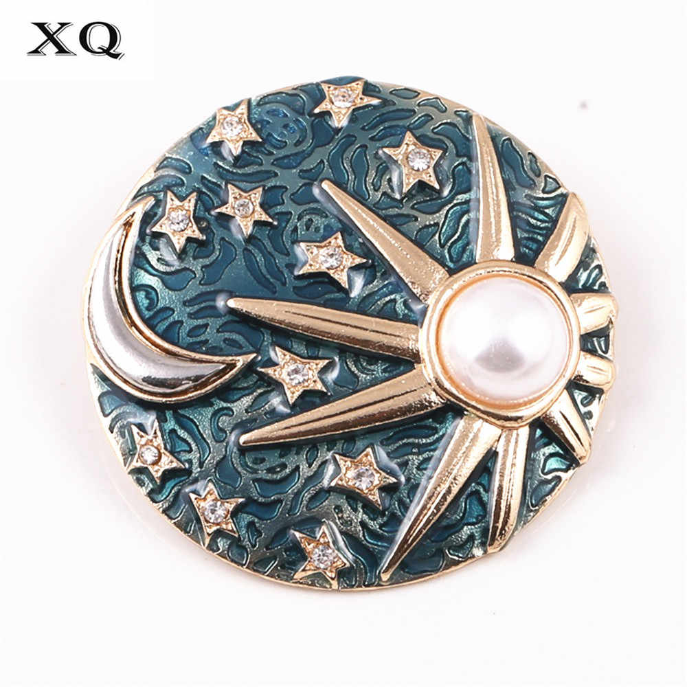 2016 free shipping Fashion jewelryFashionable woman drops glaze stars the moon galactic sun brooch Men's suit badge
