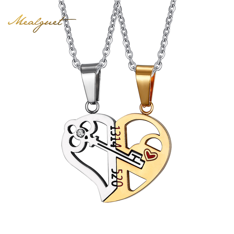 Meaeguet fashion heart key necklace pendant couple love forever wedding stainless steel jewelry