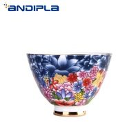 Boutique White Jade Porcelain Teacup Color Flowers Enamel Tea Cup Ceramic Crafts Master Cup Kung Fu Tea Set Teacup Drinkware