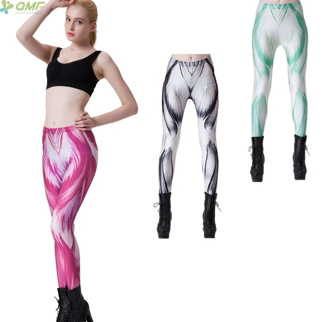 human muscle print womens leggins pink fitness clothing green sexy, Muscles
