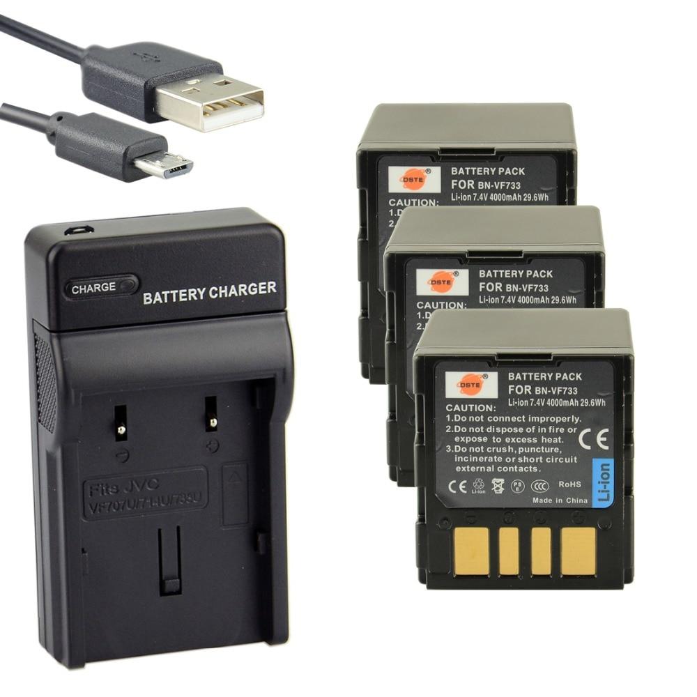 ФОТО DSTE 3pcs BN-VF733U Li-ion Battery + UDC32 usb charger For JVC GR-D290AH GR-DF570GR-D246 GR-D290US GR-DF590 Camera