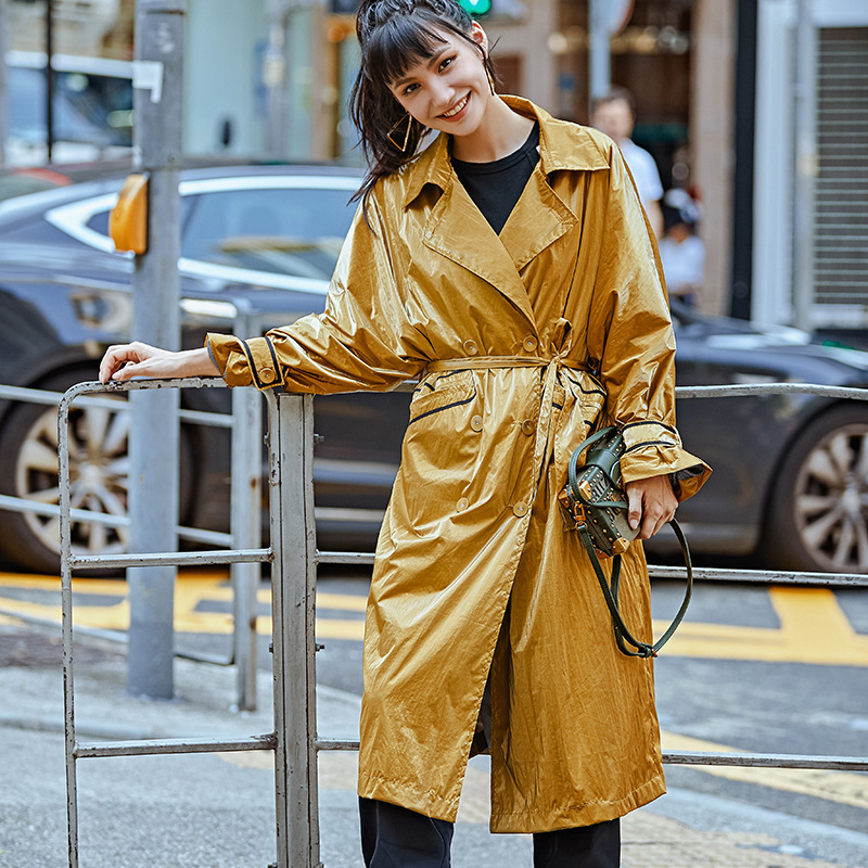 Streetwear Fashion Shiny Long   Trench   Coat For Women Yellow Overcoat 2019 New Arrival Double-breasted Bandage Windproof Outerwear