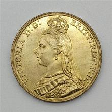 1888 британская монета рыцаря из латуни, позолоченная монета королевы Виктории