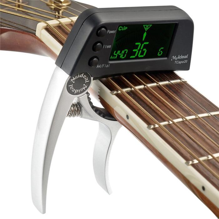 Multifuncional 2 en 1 Guitar Tuner Guitar Capo TCapo20 con LCD para guitarra acústica bajo eléctrico aleación de aluminio