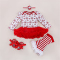 Retails 2016 Hot Snowflake Red & Green Romper Dresses 4pcs Sets Baby Girl Princess Dress for Christmas Costume Bebe Newborn Wear