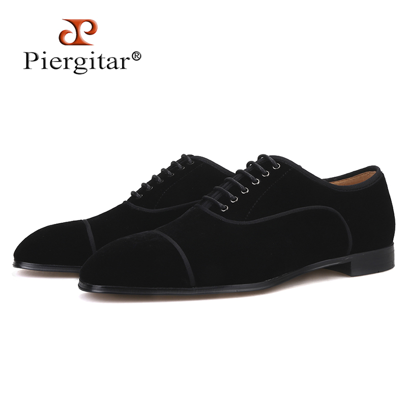 Piergitar 2019 Black colors men velvet shoes leather insole men dress shoes red bottom Handmade lace