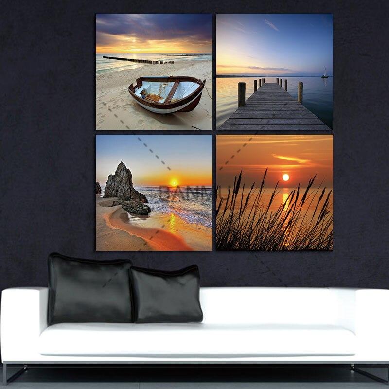 ჱPintura Cuadros 4 panel impresiones modernas playa paisaje marino ...