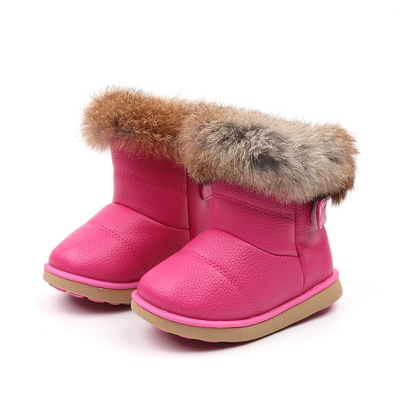 JGSHOWKITO Girls Boots Fashion Snow Boots For Kids Children Rubber Boots For Toddler Boys Girl Toddlers Warm Cotton Plush Fur