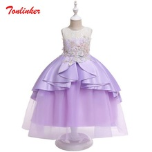 Summer Party Princess Dress Kids Embroidery Flowers Dresses For Girls Bridesmaid Dress Elegant Girl Clothes Wedding Costume недорго, оригинальная цена