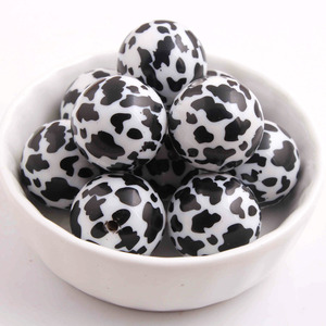Image 1 - Kwoi vita 100pcs/lot 20mm chunky white solid Full print Cow Beads for Chunky Necklace Jewelry