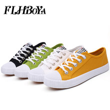 Fashion Women's Vulcanize Canvas Flats Shoes Women Girl Yellow White Casual Breathable Walking Shoes Flats Candy Tenis sneaker