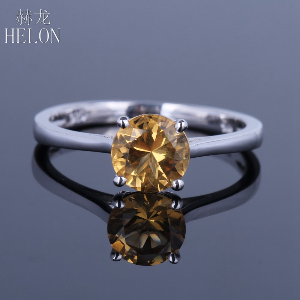 HELON Round Shape 6.5mm Citrine Ring Sterling Silver 925 Polish Fine Jewelry Ring Engagement Wedding Womens Gemstones RingHELON Round Shape 6.5mm Citrine Ring Sterling Silver 925 Polish Fine Jewelry Ring Engagement Wedding Womens Gemstones Ring