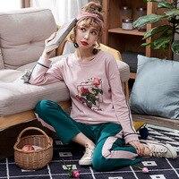 Pajamas Sets Women Striped Soft Cotton Carton Fashion Women Long Sleeve Sleepwear Suit 2 Piece Sexy Spring Home Lounge Gift