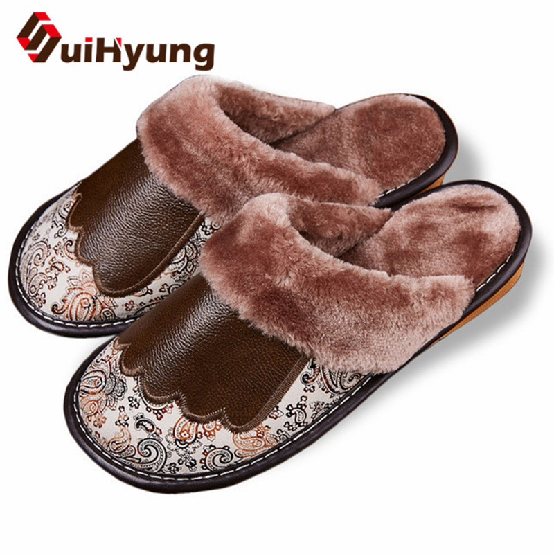 Suihyung Women Leather Home Slippers Winter Warm Plush Indoor Floor Shoes Plus Size 35-44 Bedroom Woman Men Furry Flat Slippers suihyung funny rabbit shape women winter home slippers plush indoor floor shoes female warm furry soft bottom slippers chinelos
