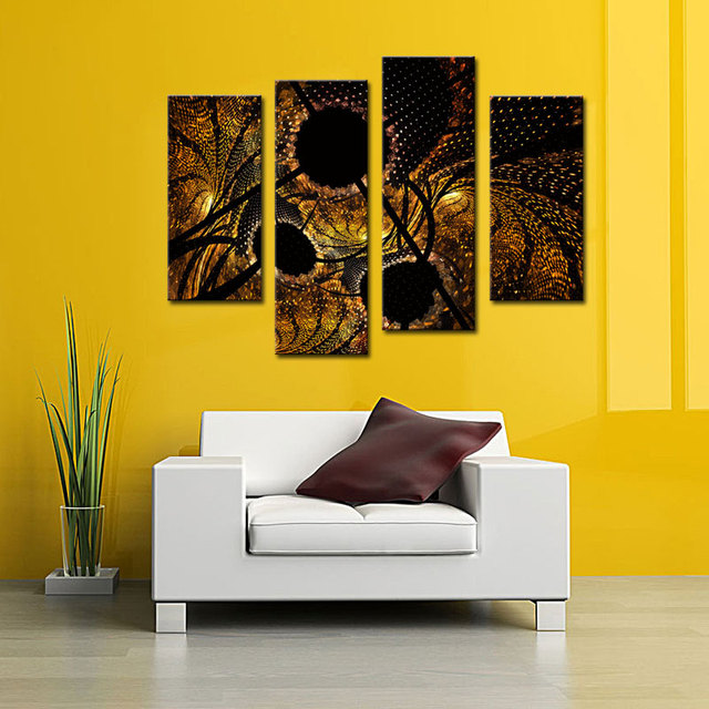 4 Pieces Abstract Art Paintings Black and Yellow Wall Art Picture ...