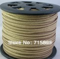 Free Shipping  Light Gold 3*1.5mm 100 Yard (92 Meter )  Faux Suede Leather Cord Jewellery Making Fit Make Necelace and Bracelet