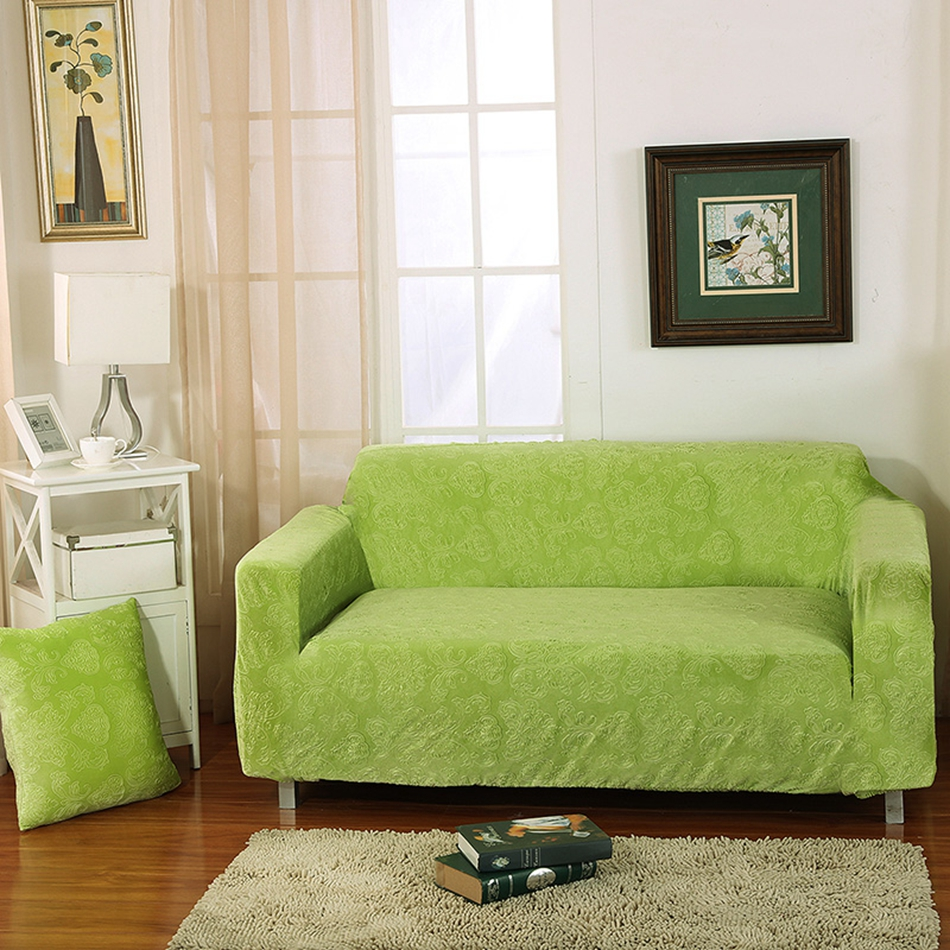 Green knitted fabric universal stretch sofa cover for - Fundas sofa exterior ...