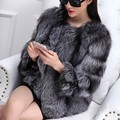 Russian women's thick warm fur coat real silver fox fur coats for women Celebrity style striped natural fox fur outerwear