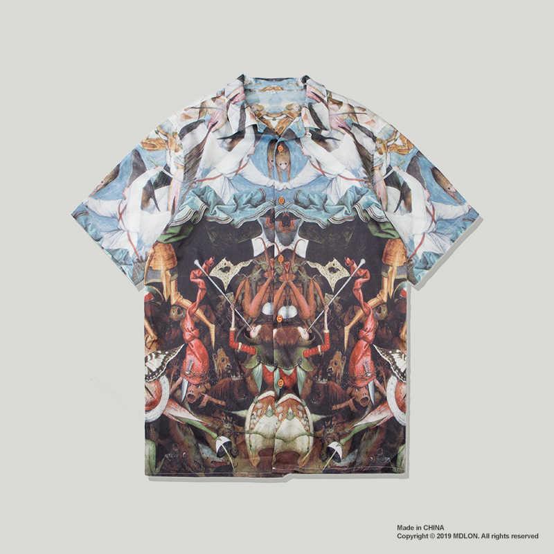 Gersri 流行アロハシャツ男性ルースホリデートップス男性ファッション漫画プリントターンダウン襟半袖