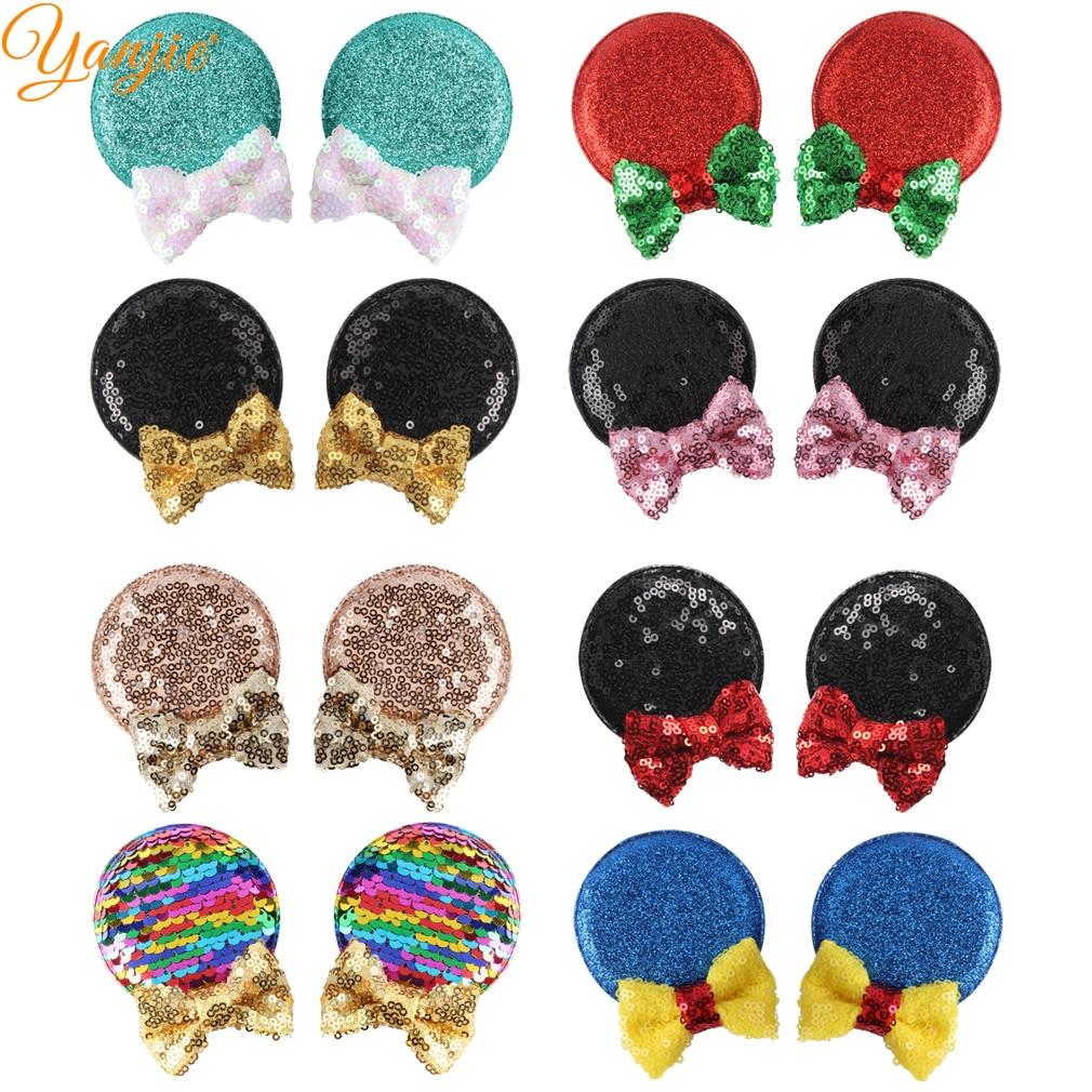 1 Paar Glitter Minnie Ohren Grips Weihnachten Party Haar Clips Für Kinder Haar Zubehör Pailletten Bogen Minnie Maus Ohr Für Mädchen