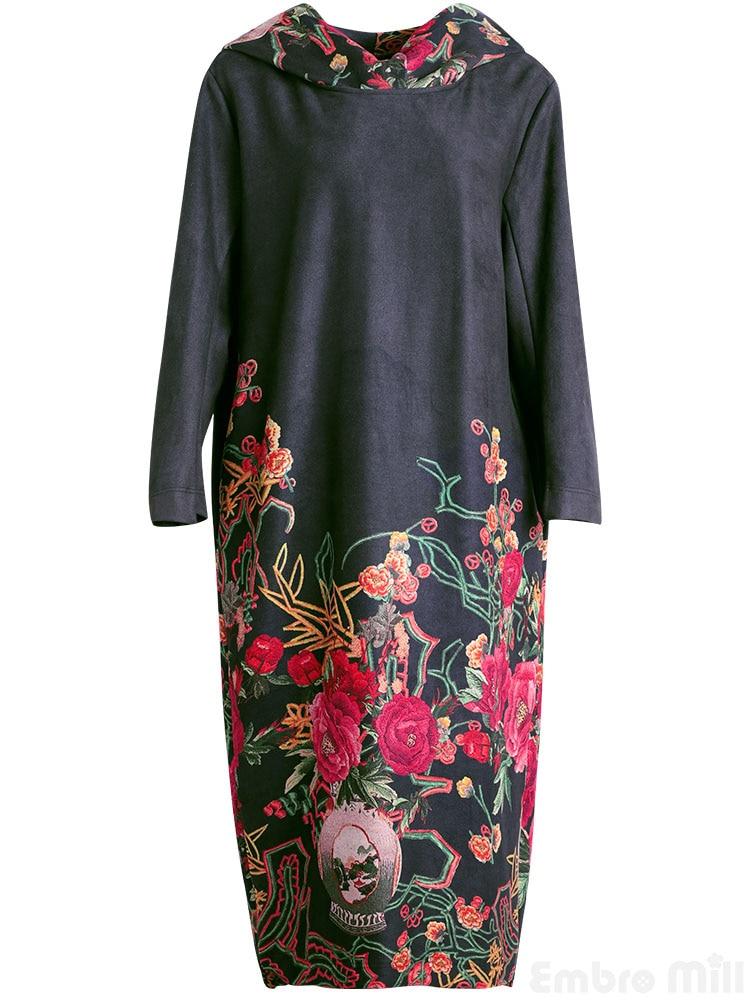 Imprimé Moulin Embro Belle Floral Dame Traditionnel Chinois xxl Élégante Lâche M Vêtements Vintage Robe Hiver Automne Femmes dqqvxrB6