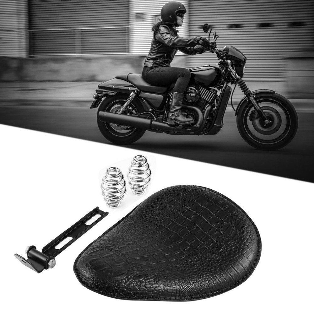 New New Motorcycle Retro Brown/Black Crocodile Leather Solo Seat for Harley Custom Chopper Bobber Leather Saddle Seat
