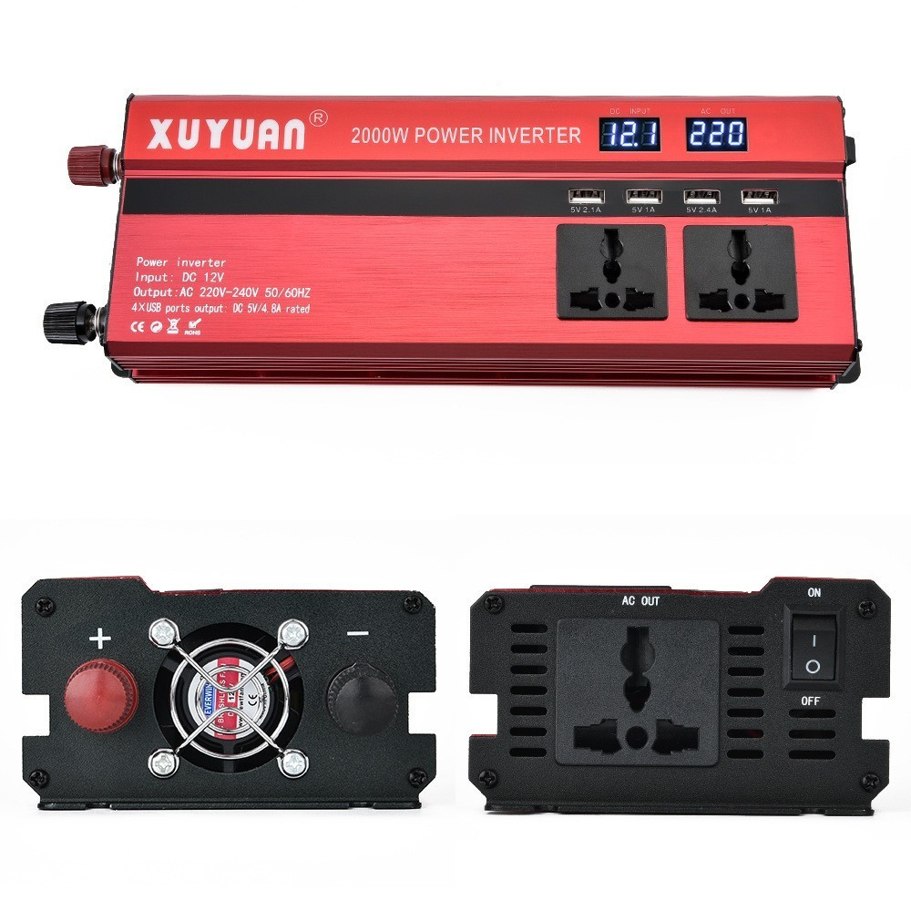 Cars <font><b>Inverter</b></font> 12v <font><b>24v</b></font> To <font><b>220v</b></font> Vehicles Powerful Charger Portable With LCD Display Screen Converter <font><b>2000w</b></font> <font><b>Inverter</b></font> 2019 New image
