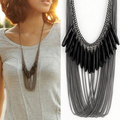 European and American black droplets drops imitation multilayer tassel necklace