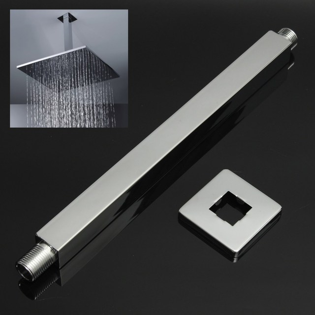 34cm Brass Bathroom Square Wall Mounted Shower Extension Arm For Rain Shower  Head Extension Pipe Shower