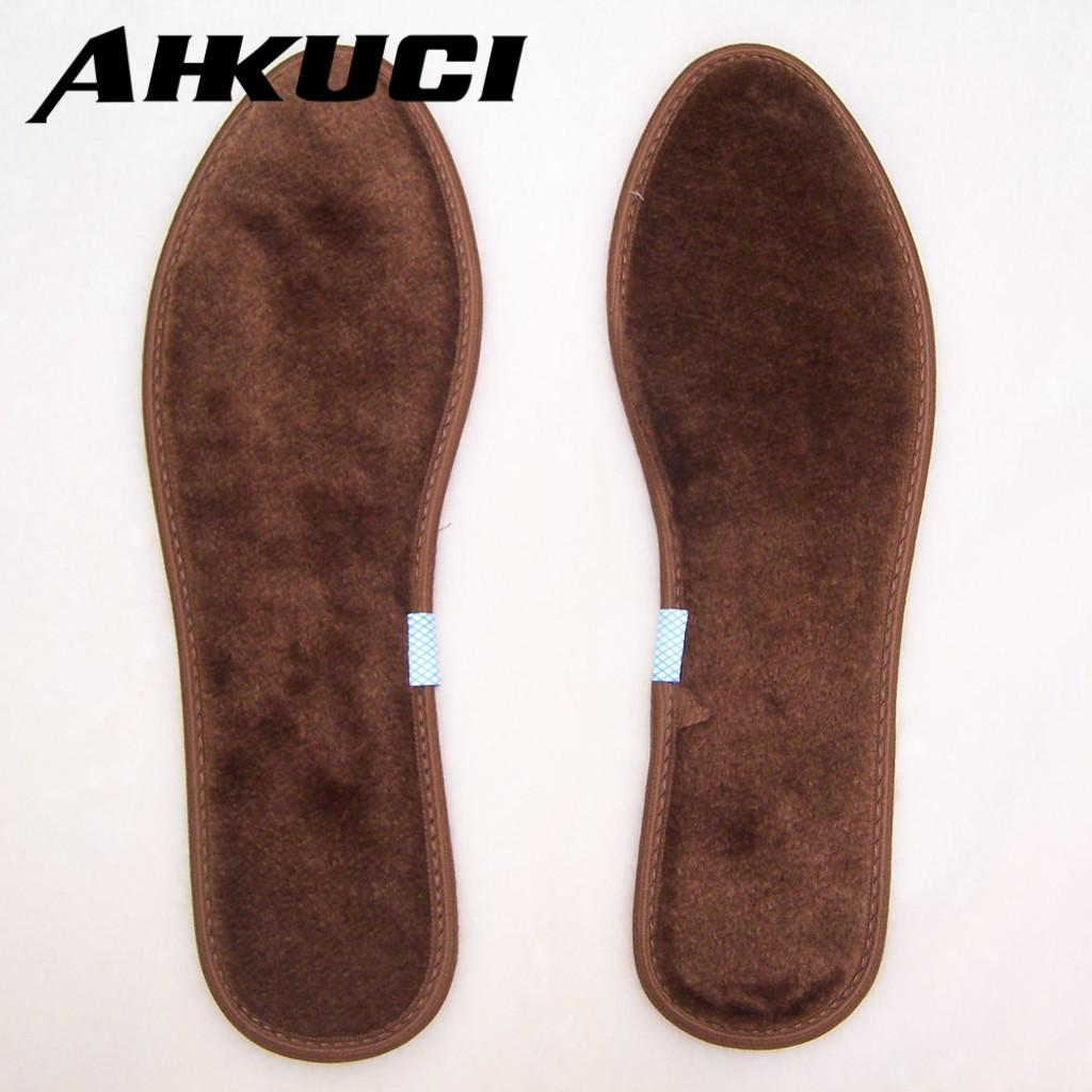 Wholesale 10 pairs/lot Winner warmer Brown plush insoles Wool insoles Optional size