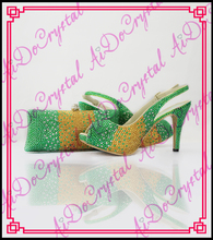 Aidocrystal yellow and green crystal 2016 shoes match bag set sexy lady clutch handbag and matching shoes for party