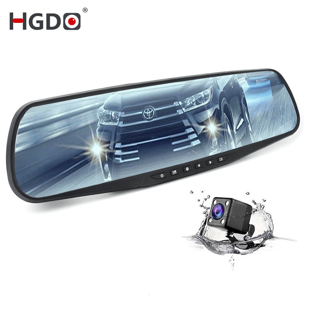 HGDO DVR Car dash cam Dual Lens Rearview Mirror 4.3inch Full HD 1080P Video Recorder Auto Registrator Camcorder camera